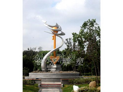 南汇四团中学不锈钢雕塑2