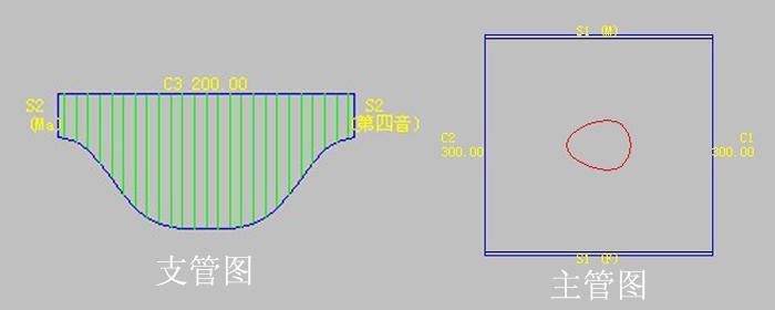 风管放样,等径圆管任意角度三通放样下料说明