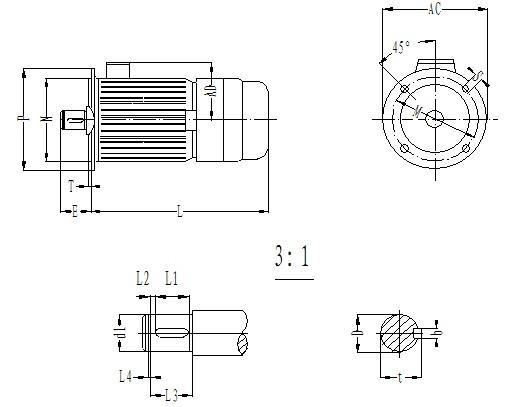 直聯式外形及安裝尺寸圖