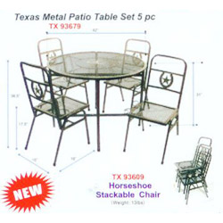 Texas metal patio table set 5 pc