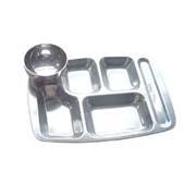 不锈钢六格快餐盘连汤碗
