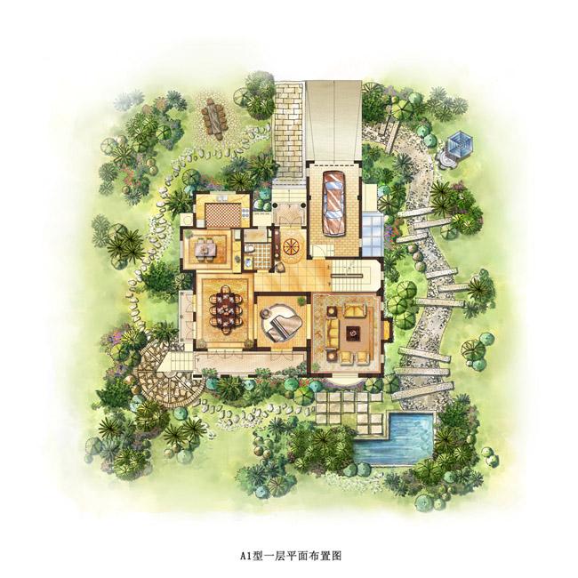 透视图家配图_建筑设计手绘效果图_纯手绘效果图_手绘