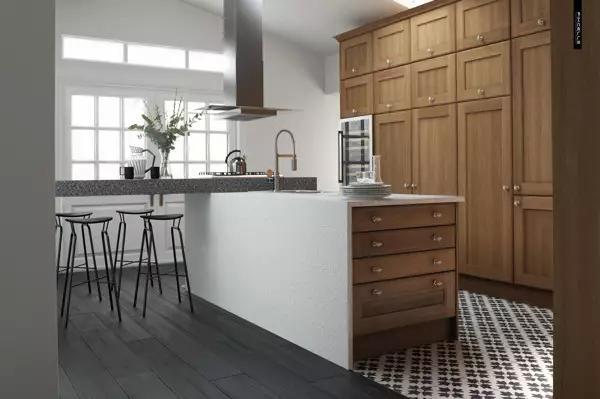 欧式厨房白色橱门搭配瓷砖