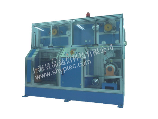 Optical fiber proof-testing and rewinding machine