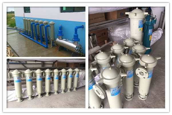PP袋式过滤器,海南水产养殖海水谈化过滤现场