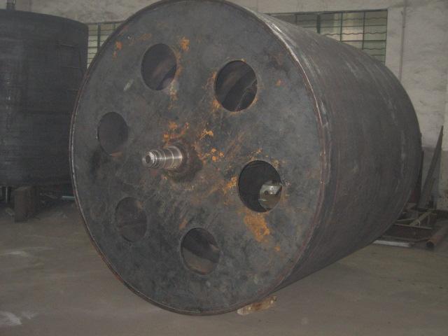 冷作加工完待车削的Ф1800*2500双层蒸汽烘筒切面图